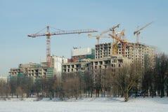 Bouw van woon complex, Moskou, Rusland Stock Foto's