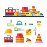 Bouw verwante pictogrammen en illustraties Stock Foto's