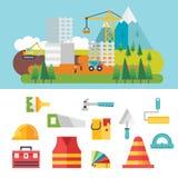 Bouw verwante pictogrammen en illustraties Stock Afbeeldingen