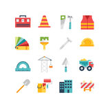 Bouw verwante pictogrammen en illustraties Royalty-vrije Stock Fotografie