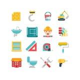 Bouw verwante pictogrammen en illustraties Stock Afbeelding