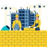 Bouw, werkomgeving Bouwers op het werk In de minimalistische vlakke Vector van het stijlbeeldverhaal stock illustratie