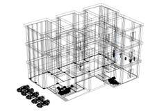Bouwend 3D geïsoleerde blauwdruk - Royalty-vrije Stock Afbeeldingen