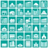 Bouwend geplaatste pictogrammen Stock Fotografie