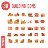 30 bouwend Pictogrammen - Vlakte Stock Foto