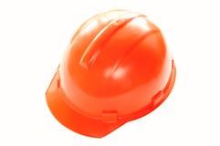 Bouwend rode geïsoleerde_ helm op wit Stock Afbeelding