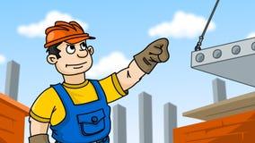 Bouwer in bouwvakker bij bouwwerf Stock Foto's