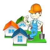 Bouwer en thuis vector illustratie