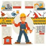 Bouwer met Hamer en in aanbouw Teken vector illustratie
