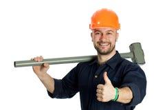 Bouwer met hamer op witte achtergrond wordt geïsoleerd die Stock Foto's