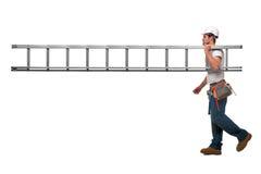 Bouwer met ladder Royalty-vrije Stock Foto
