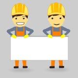2 bouwers houden de witte tribune voor uw tekst Royalty-vrije Stock Afbeelding