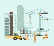Bouwers op de bouwwerf Het proces van het de bouwwerk met huizen en bouwmachines Vectorillustratie met vector illustratie