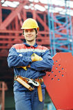 Bouwersarbeider bij bouwwerf Royalty-vrije Stock Foto