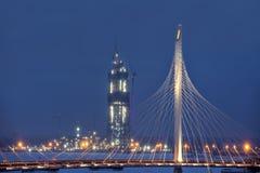 Bouwgazprom-Toren, Heilige Petersburg, Rusland, de winteravond stock afbeelding