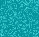Bouwhulpmiddelen, blauwgroene achtergrond, naadloos, Stock Fotografie