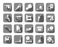 Bouwhulpmiddelen, verbruiksgoederen, vlakke pictogrammen, grijs, Stock Afbeeldingen