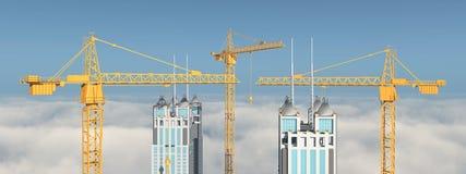 Bouwkranen en gebouwen over de wolken Royalty-vrije Stock Foto's