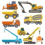 Bouwmateriaal en machines met van het de bulldozer de vlakke gele vervoer van de vrachtwagenskraan vectorillustratie vector illustratie