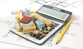 Bouwmaterialen op calculator Concept berekening van kosten van bouw 3D Illustratie Stock Fotografie