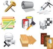 Bouwmaterialenpictogrammen Stock Afbeeldingen
