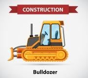 Bouwpictogram met bulldozer Stock Afbeeldingen