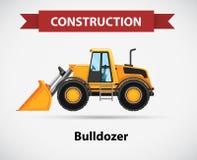 Bouwpictogram met bulldozer Royalty-vrije Stock Afbeeldingen