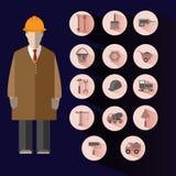 Bouwpictogrammen Geplaatst Bouwer Illustration Stock Foto's