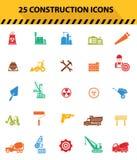 Bouwpictogrammen, Kleurrijke pictogrammen Stock Afbeeldingen