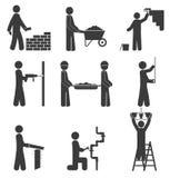 Bouwpictogrammen, vernieuwingsloodgieterswerk op witte achtergrond Stock Foto's