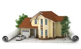Bouwplan met huis en 3d hout Stock Foto's
