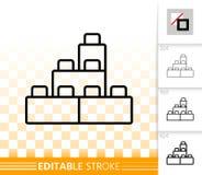 Bouwsteenstuk speelgoed eenvoudig zwart lijn vectorpictogram stock illustratie