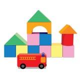 Bouwstenen met brandvrachtwagen, creatieve stuk speelgoed blokken Stock Afbeeldingen