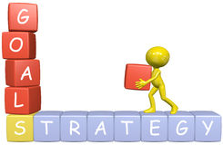 Bouwt 3D het beeldverhaalmens van de Strategie van doelstellingen zaken Royalty-vrije Stock Afbeelding