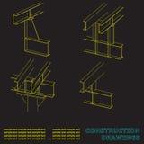 Bouwtekeningen 3D metaalbouw De stralen en de kolommen Stock Fotografie
