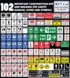 Bouwterrein, bouwmilieu's, attenti van de Gevaarwaarschuwing stock foto's