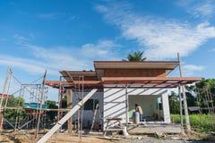 Bouwterrein met Huis in aanbouw Royalty-vrije Stock Fotografie