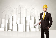 Bouwvakker het schaven met 3d gebouwen op achtergrond Royalty-vrije Stock Afbeeldingen