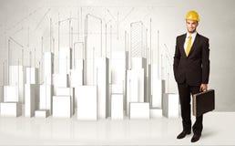 Bouwvakker het schaven met 3d gebouwen op achtergrond Royalty-vrije Stock Afbeelding