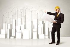 Bouwvakker het schaven met 3d gebouwen op achtergrond Stock Afbeeldingen
