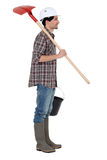 Bouwvakker met een schop. Stock Foto's