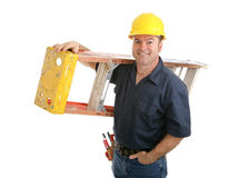 Bouwvakker met Ladder Stock Foto