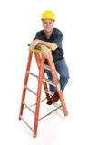 Bouwvakker op Ladder Royalty-vrije Stock Foto's