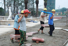 Bouwvakkers in Chengdu Stock Foto's