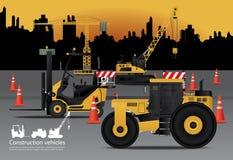 Bouwvoertuigen met de Bouw van Achtergrond worden geplaatst die stock illustratie