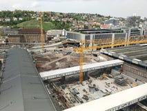 Bouwwerf bij de hoofdpost van Stuttgart voor het Stuttgart21-spoorwegproject Stock Afbeeldingen