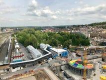 Bouwwerf bij de hoofdpost van Stuttgart voor het Stuttgart21-spoorwegproject Royalty-vrije Stock Afbeeldingen
