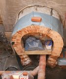 Bouwwerf bij het rioleringskanaal Stock Fotografie