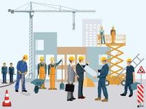 Bouwwerf met arbeiders royalty-vrije illustratie