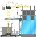 Bouwwerf met torenkranen en gebouwen in aanbouw Vectorillustratie van de bouw van huizen stock illustratie